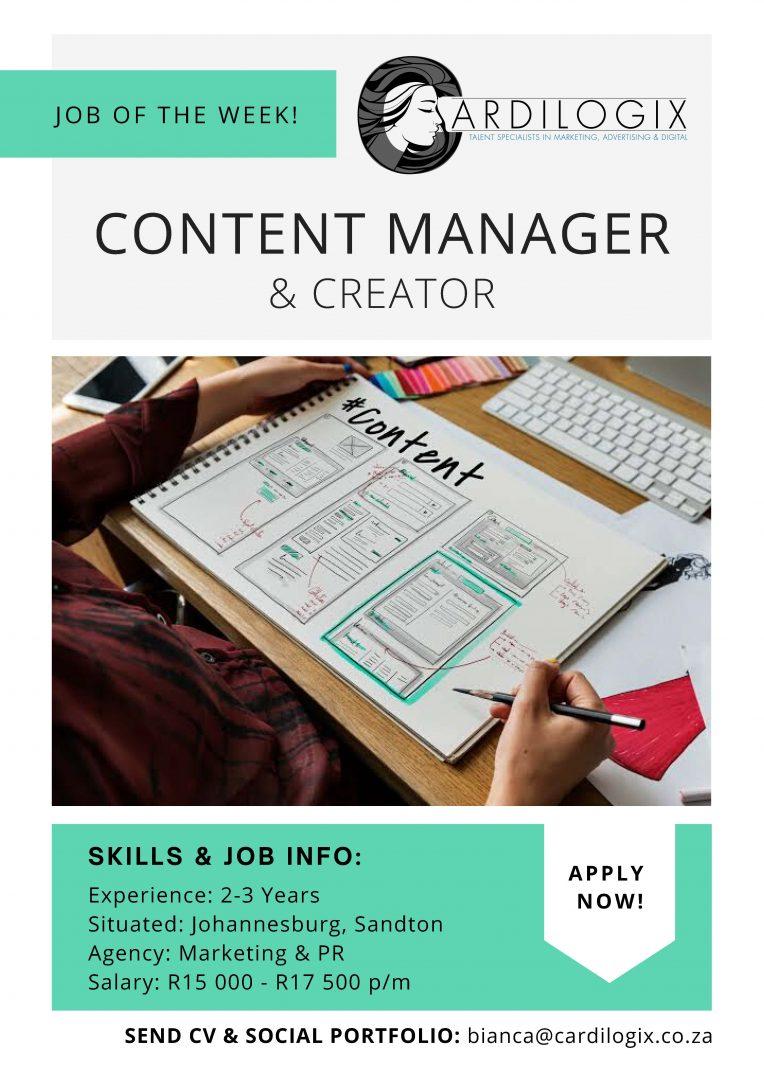 Content Manager Job Joburg